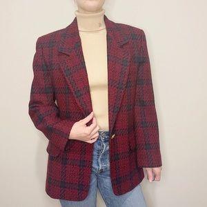 Vintage Red Plaid Blazer Jacket Large Print 10 90s